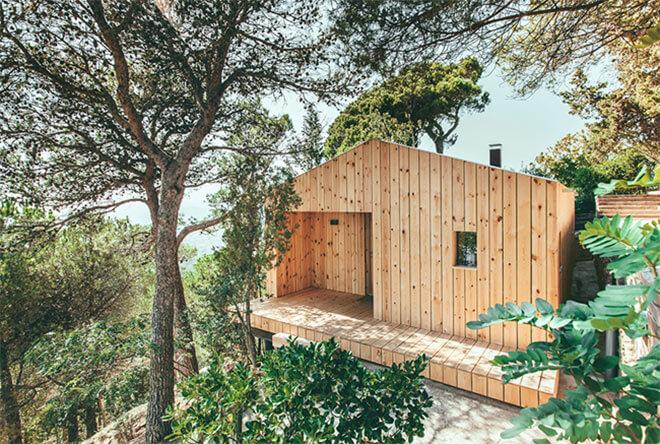 Wood Studio House in Sant Cugat, Spain. Image via Dom Arquitectura