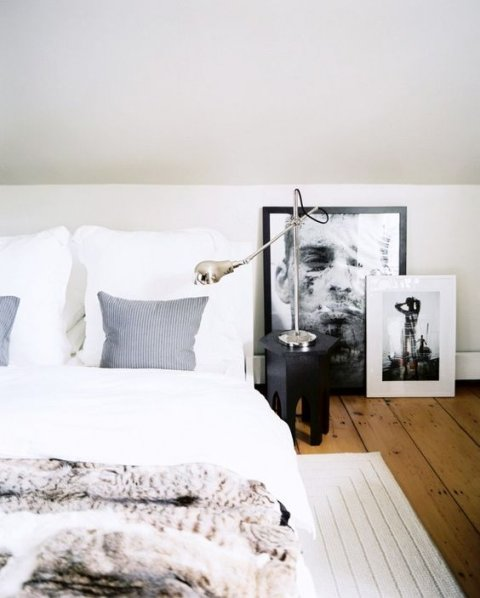 Art unhung in the bedroom of a modular home